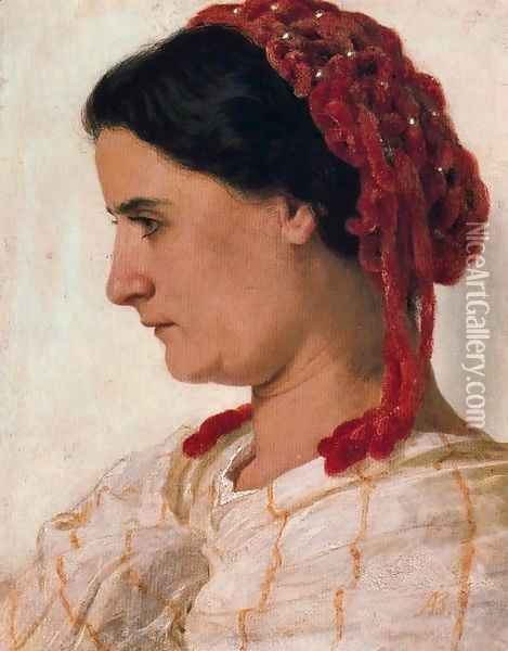 Portrait of Angela Bcklin  la rsille rouge Oil Painting - Arnold Bocklin
