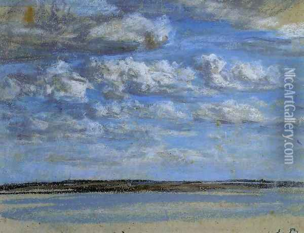 White Clouds, Blue Sky Oil Painting - Eugene Boudin