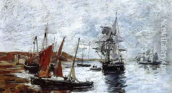 Camaret, Boats on the Shore Oil Painting - Eugene Boudin