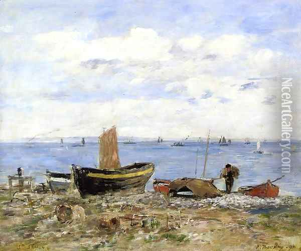 Shore at Sainte-Adresse, Low Tide Oil Painting - Eugene Boudin