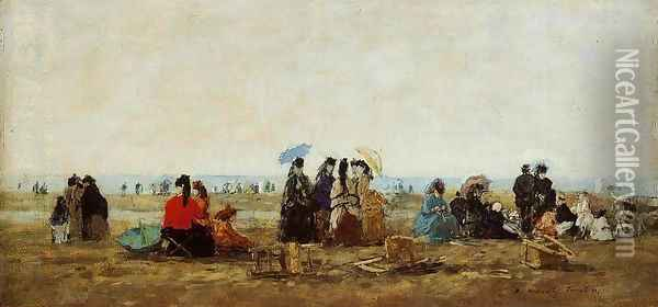 The Beach at Trouville VI Oil Painting - Eugene Boudin