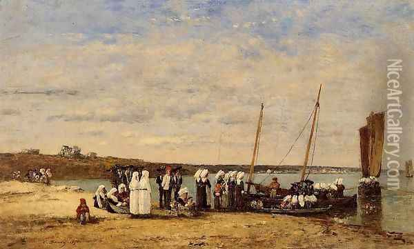 Fishermen of Kerhor Receiving a Blessing at Plougastel Oil Painting - Eugene Boudin