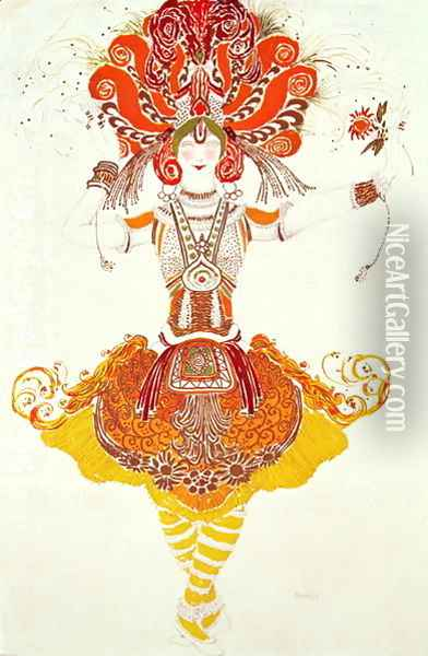 Ballet Costume for 'The Firebird' Oil Painting - Leon Samoilovitch Bakst