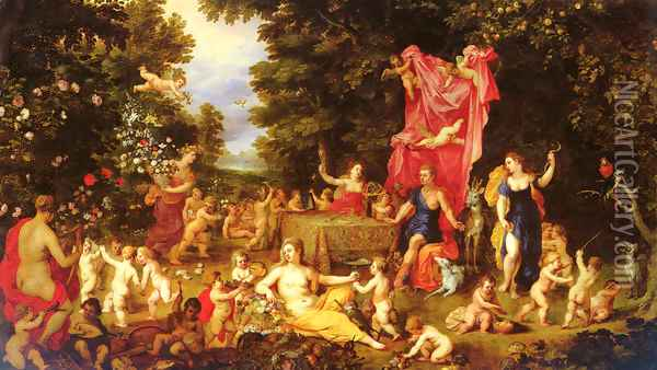 An Allegory Of The Five Senses Oil Painting - Jan The Elder Brueghel