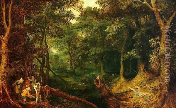 Ambush in the Woods Oil Painting - Jan The Elder Brueghel