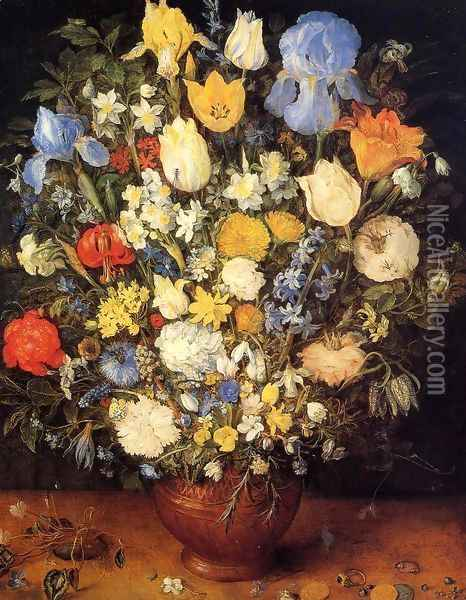 Bouquet of Flowers in a Ceramic Vase Oil Painting - Jan The Elder Brueghel