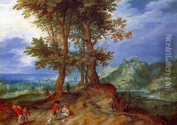 On the Road to Market Oil Painting - Jan The Elder Brueghel