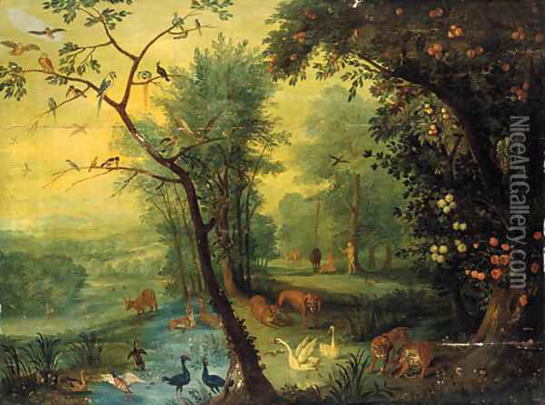 Adam and Eve in the garden of Eden Oil Painting - Jan The Elder Brueghel