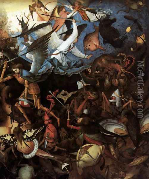 The Fall of the Rebel Angels (detail) 1562 Oil Painting - Jan The Elder Brueghel