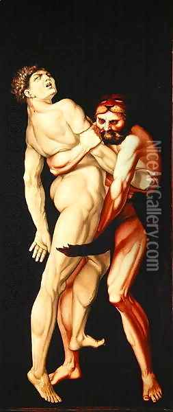 Hercules and Antaeus 1530 Oil Painting - Hans Baldung Grien
