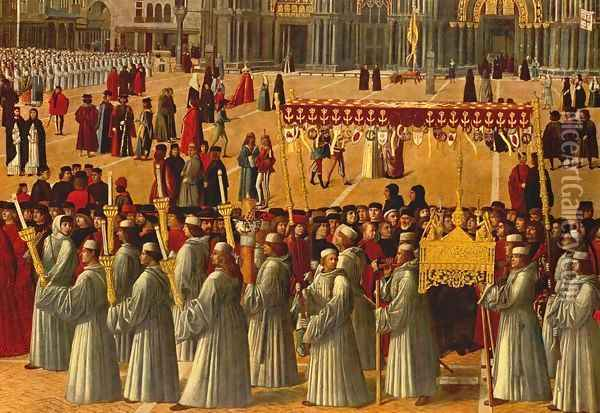 Procession in Piazza S. Marco (detail) 1496 Oil Painting - Gentile Bellini