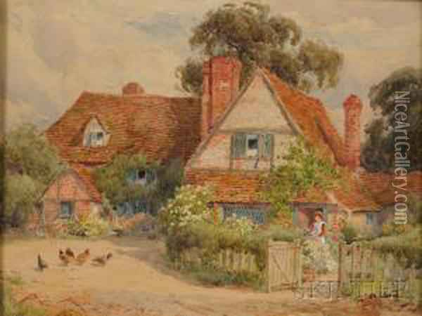 A Bit Of Rural England Oil Painting - Alfred A. Waters