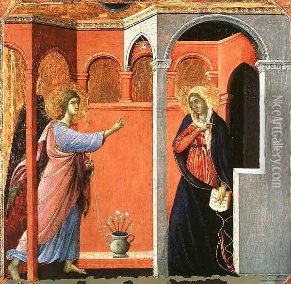 Annunciation 1308-11 Oil Painting - Duccio Di Buoninsegna