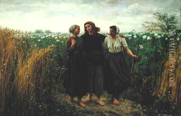 Returning from the Fields, 1871 Oil Painting - Jules Breton