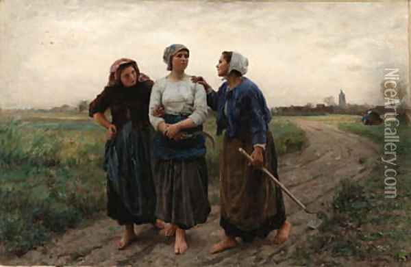 Les Amies (Setting out for the Fields) Oil Painting - Jules Breton