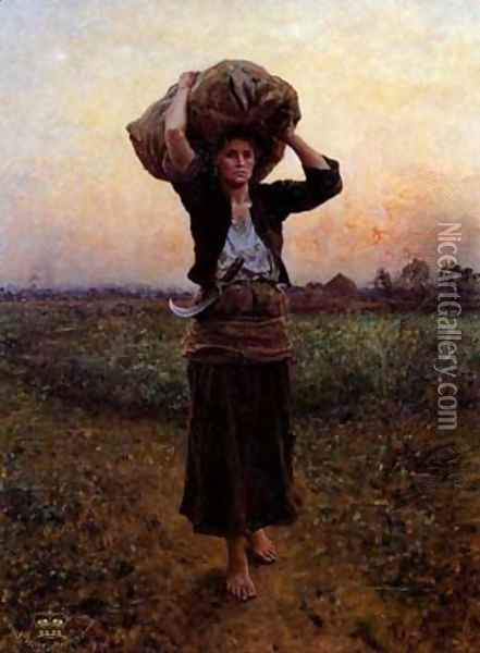 The Shepherds Star Oil Painting - Jules Breton
