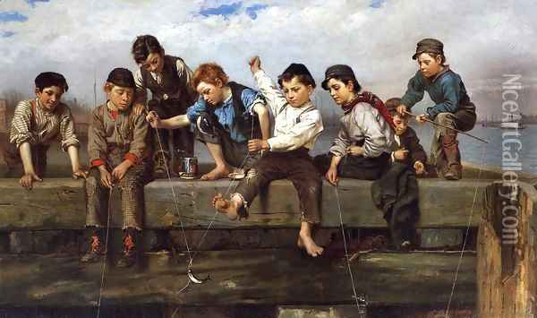 A Thrilling Moment Oil Painting - John George Brown