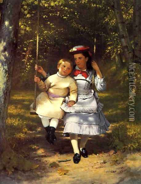Two Girls on a Swing Oil Painting - John George Brown