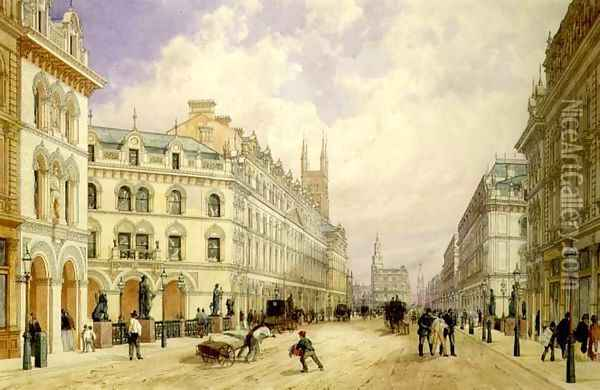 Holborn Viaduct looking East, City of London, 1871 Oil Painting - Thomas Shotter Boys