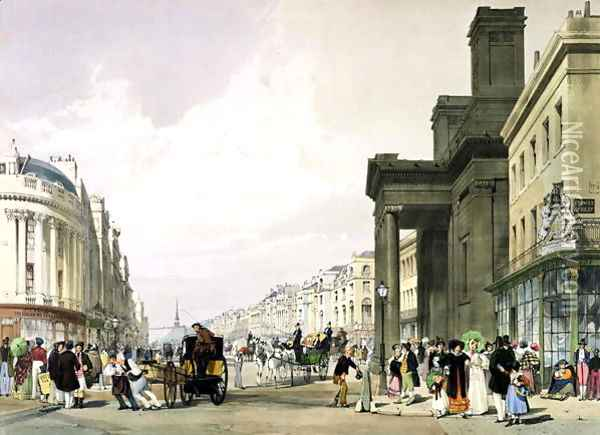 Regent Street looking towards the Quadrant with Hanover Chapel in the foreground and shoppers promenading, 1842 Oil Painting - Thomas Shotter Boys
