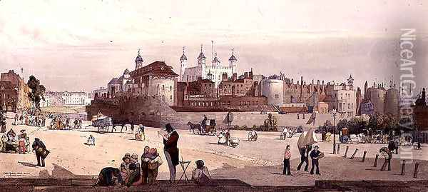 View of the Tower of London and the Royal Mint from Great Tower Hill, 1842 Oil Painting - Thomas Shotter Boys