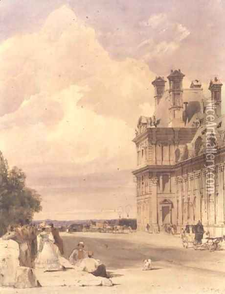 View near the Pont Royal, with the Pavillon de Flore, Tuileries Oil Painting - Thomas Shotter Boys