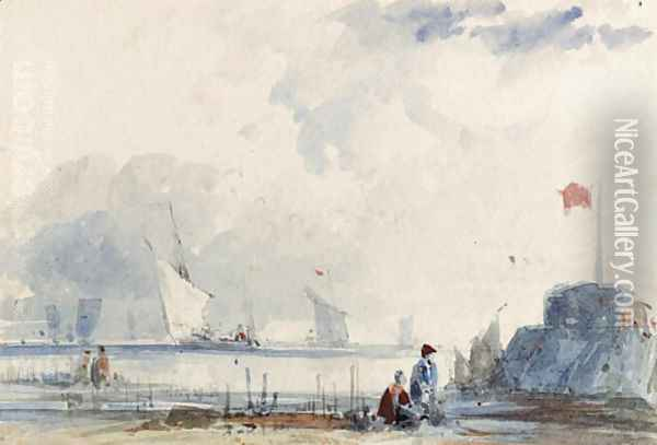 Shipping off the Normandy coast, with figures on the shore Oil Painting - Thomas Shotter Boys