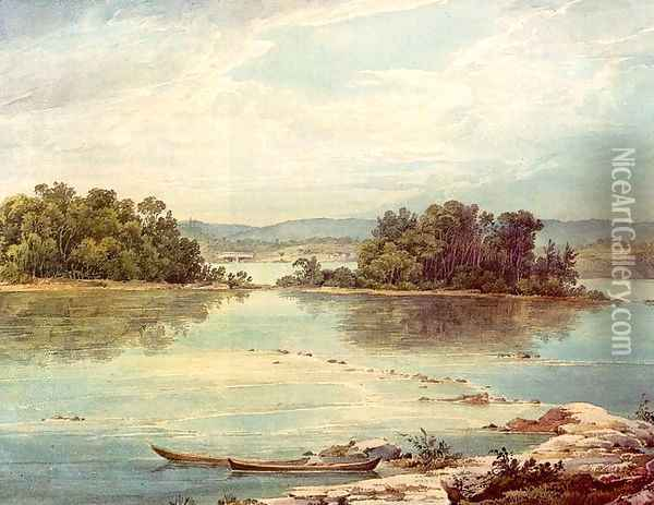 Susquehanna near Harrisburg, Pennsylvania Oil Painting - Karl Bodmer