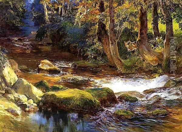 River Landscape With Deer Oil Painting - Frederick Arthur Bridgman