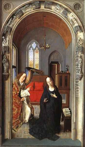 The Annunciation c. 1445 Oil Painting - Dieric the Elder Bouts
