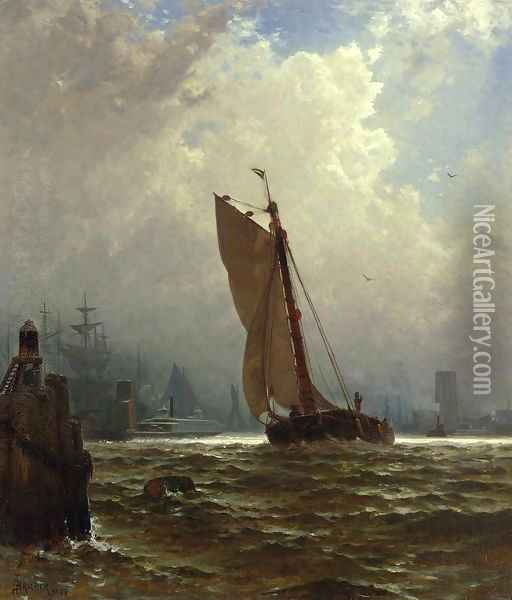 New York Harbor with the Brooklyn Bridge Under Construction Oil Painting - Alfred Thompson Bricher