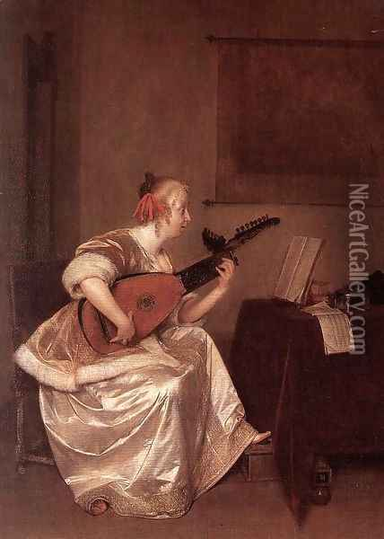 The Lute Player 1667-70 Oil Painting - Gerard Ter Borch