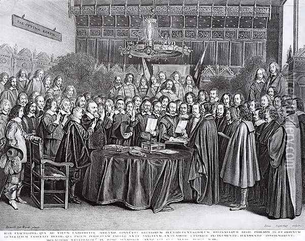 The Swearing of the Oath of Ratification of the Treaty of Westphalia at Munster, 24th October 1648 Oil Painting - Gerard Ter Borch