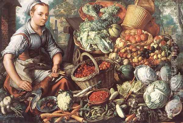 Market Woman with Fruit, Vegetables and Poultry 1564 Oil Painting - Joachim Beuckelaer