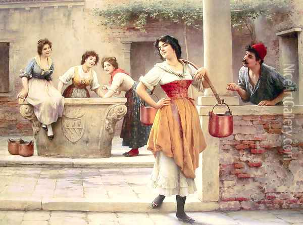 Flirtation at the Well Oil Painting - Eugene de Blaas