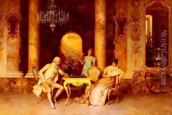 The Chess Game Oil Painting - Francesco Beda