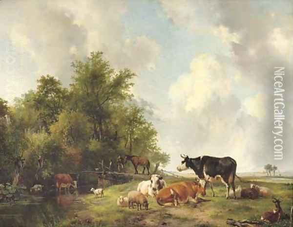 Cattle on the edge of a forest in an extensive sunlit landscape Oil Painting - Hendrikus van den Sande Bakhuyzen