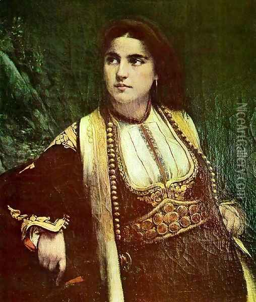 Cmogorka (A Montenegrin woman) Oil Painting - Vlaho Bukovac