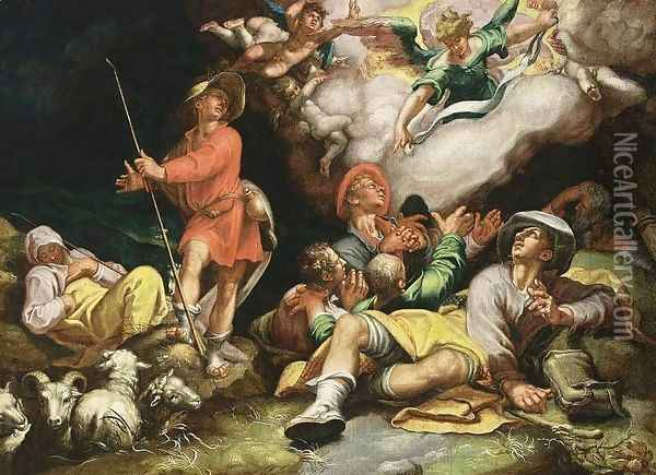 Adoration of the Shepherds c. 1600 Oil Painting - Abraham Bloemaert