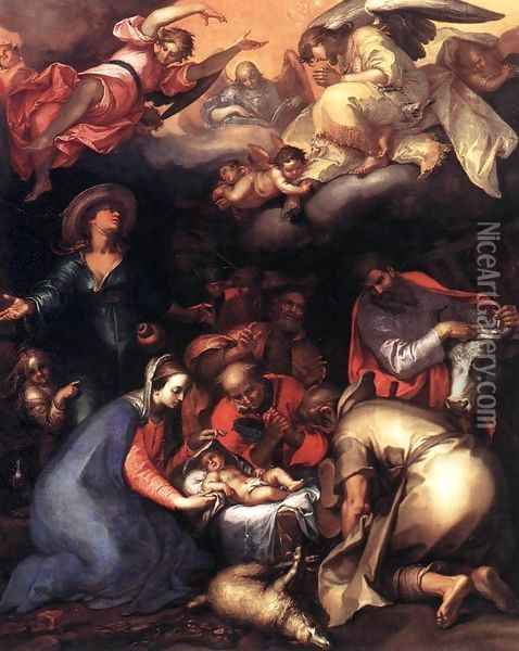 Adoration of the Shepherds 1612 Oil Painting - Abraham Bloemaert