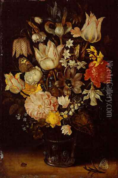 Still life of a bouquet of flowers including variegated tulips, bluebells, forget-me-nots and lily-of-the-valley (1) Oil Painting - Ambrosius the Elder Bosschaert