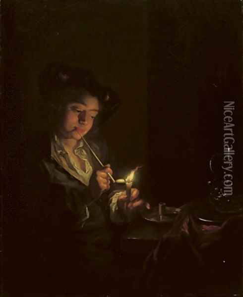 A candlelit interior with a young man seated at a table, lighting his pipe Oil Painting - Arnold Boonen