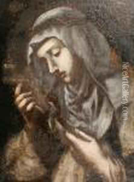 Saint Catherine Of Siena Oil Painting - Cristofano Allori