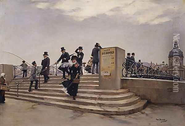 A Windy Day on the Pont des Arts Oil Painting - Jean Beauduin