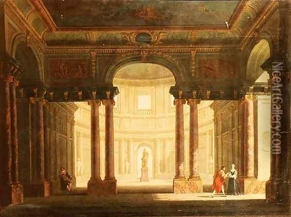 Elegant Figures in a Palladian Interior Oil Painting - George Price Boyce