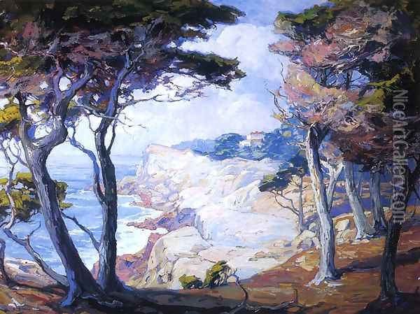 A Villa on the Monterey Coast Oil Painting - Franz Bischoff