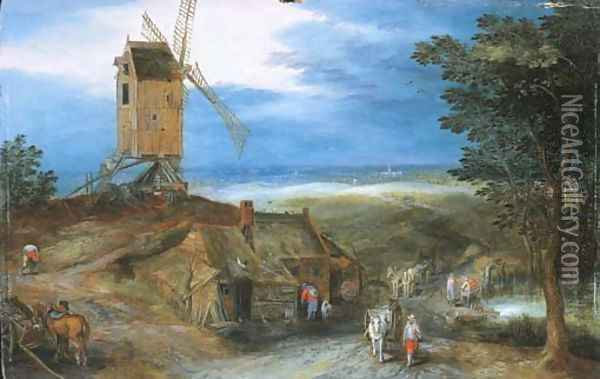 An extensive landscape with travellers passing a cottage and a miller on his way to a windmill Oil Painting - Jan Brueghel the Younger
