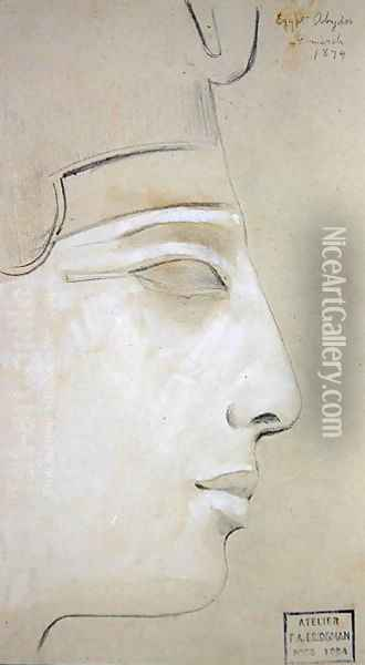 Study of a Relief of a Profile of Seti I in the Temple of Seti I, Abydos, 1874 Oil Painting - F. A. Bridgeman