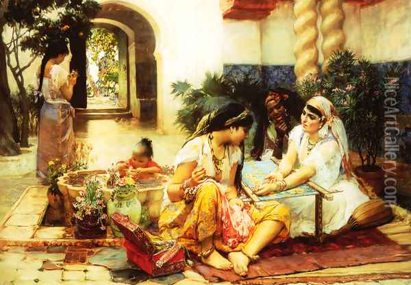 In a Village El Biar Algeria Oil Painting - F. A. Bridgeman