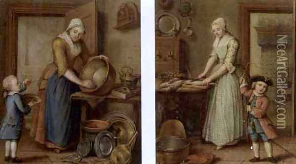 A woman cleaning pots in an interior with a boy eating cherries (and) A woman preparing fish in a kitchen and a child playing, 1769 Oil Painting - Abraham Hendrick van Beesten